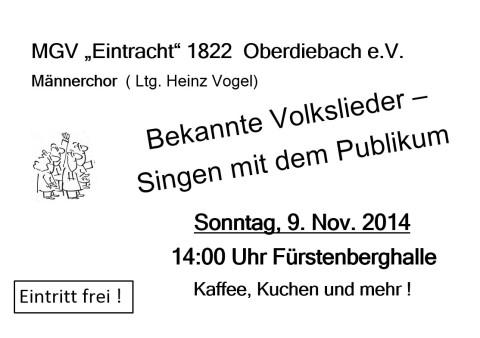 Veranstaltungshinweis - 09.11.2014 14:00 Fürstenberghalle Oberdiebach - weitere Informationen - Bild anklicken
