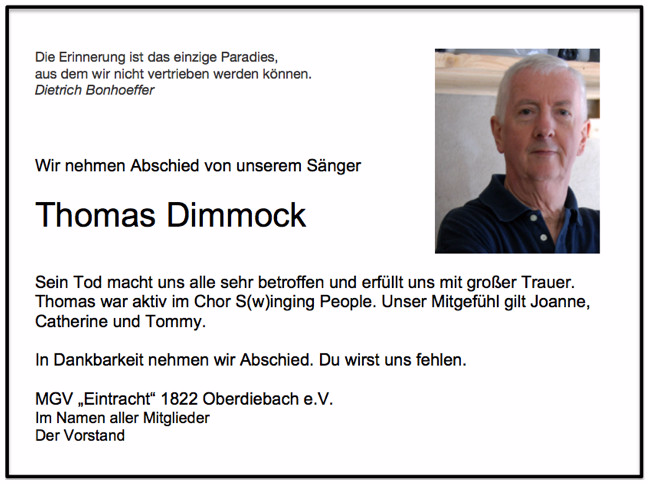 Thomas Dimmock, Januar 2016