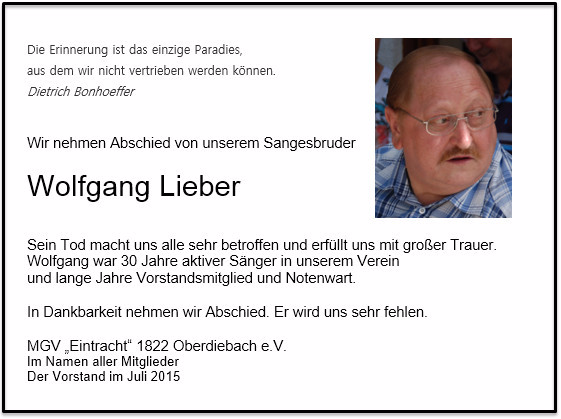 Wolfgang Lieber, Juli 2015