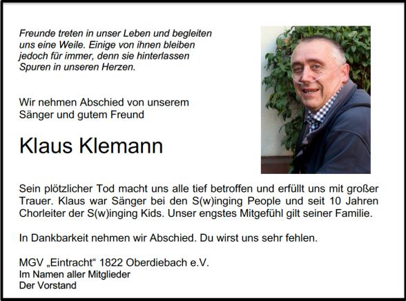 † 01.08.2020 Klaus Klemann